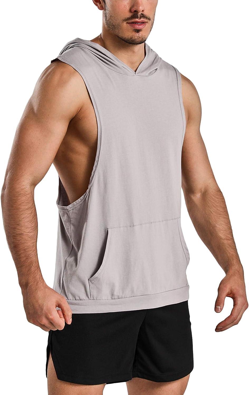 GymRevolution Mens Workout Cut Off Sleeveless Shirt Muscle Hooded Tank Tops Gym Hoodies
