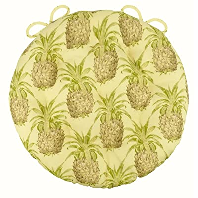 "Barnett Products 16"" Round Bistro Cushion - Pineapple Grove - Indoor/Outdoor: Fade Resistant, Mildew Resistant, Stain Resistant - Latex Foam Fill (Pineapple Grove) : Garden & Outdoor"