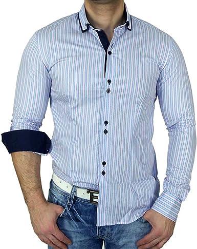 Zioss Slim Fit doble cuello Contraste manga larga para hombre Camisa Azul 1124: Amazon.es: Ropa y accesorios