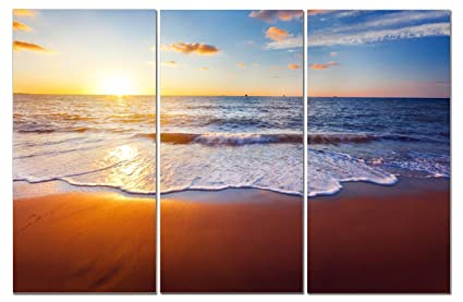 f58b419bf87 Canvas Wall Art Decor - 12x24 3 Piece Set (Total 24x36 inch) - Florida  Sunset Beach - Decorative   Modern Multi Panel Split Canvas Prints for  Dining ...