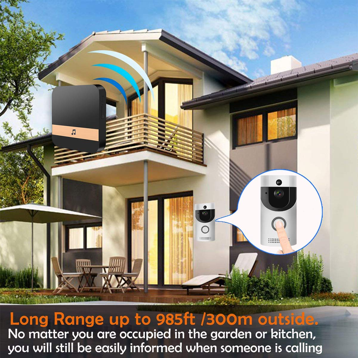 WIFI Video Doorbell, Smart Doorbell HD Security Camera with Chime, Real-Time Two-Way Talk and Video, Night Vision, PIR Motion Detection, ultra-slim design and App Control for IOS and An (Silver) by KLORNO (Image #3)