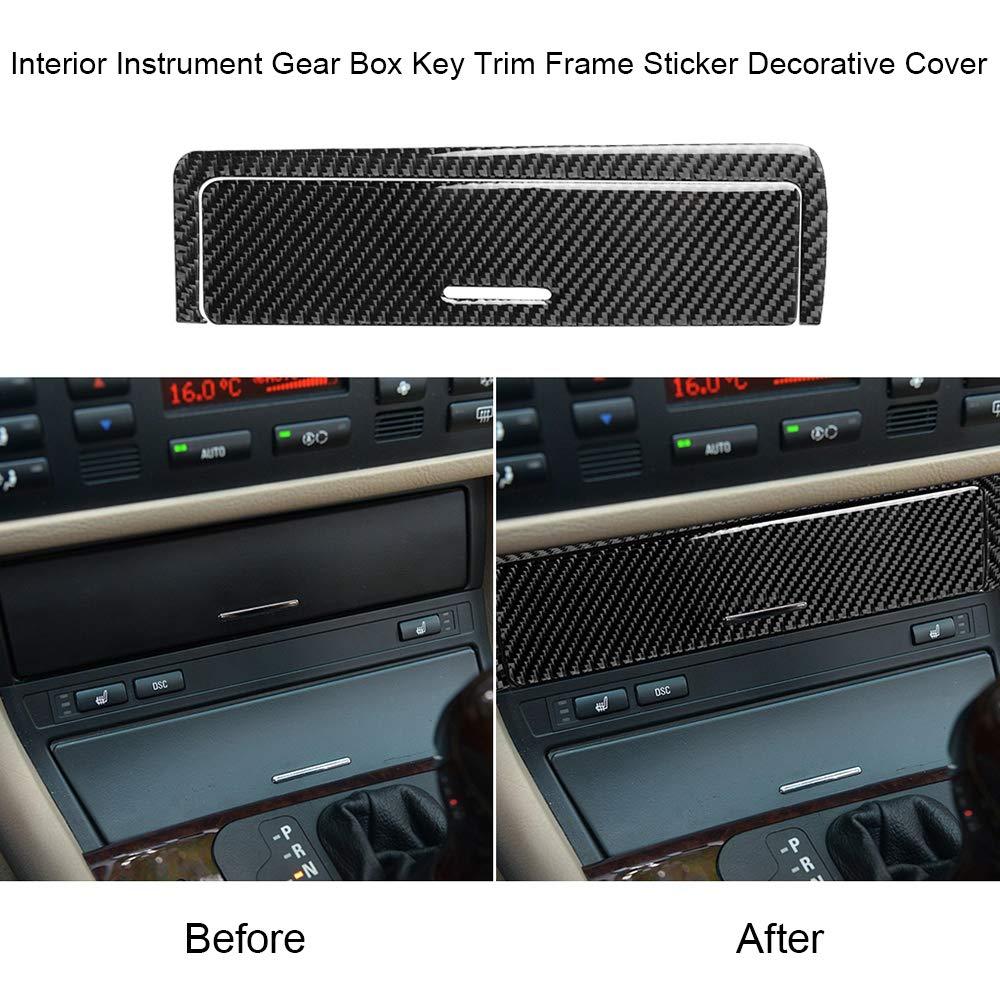 1998-2005 Voupuoda Caja de Engranajes del Instrumento Interior de Fibra de Carbono Cubierta Decorativa de la Etiqueta del Marco del Ajuste Clave para BMW Serie 3 E46
