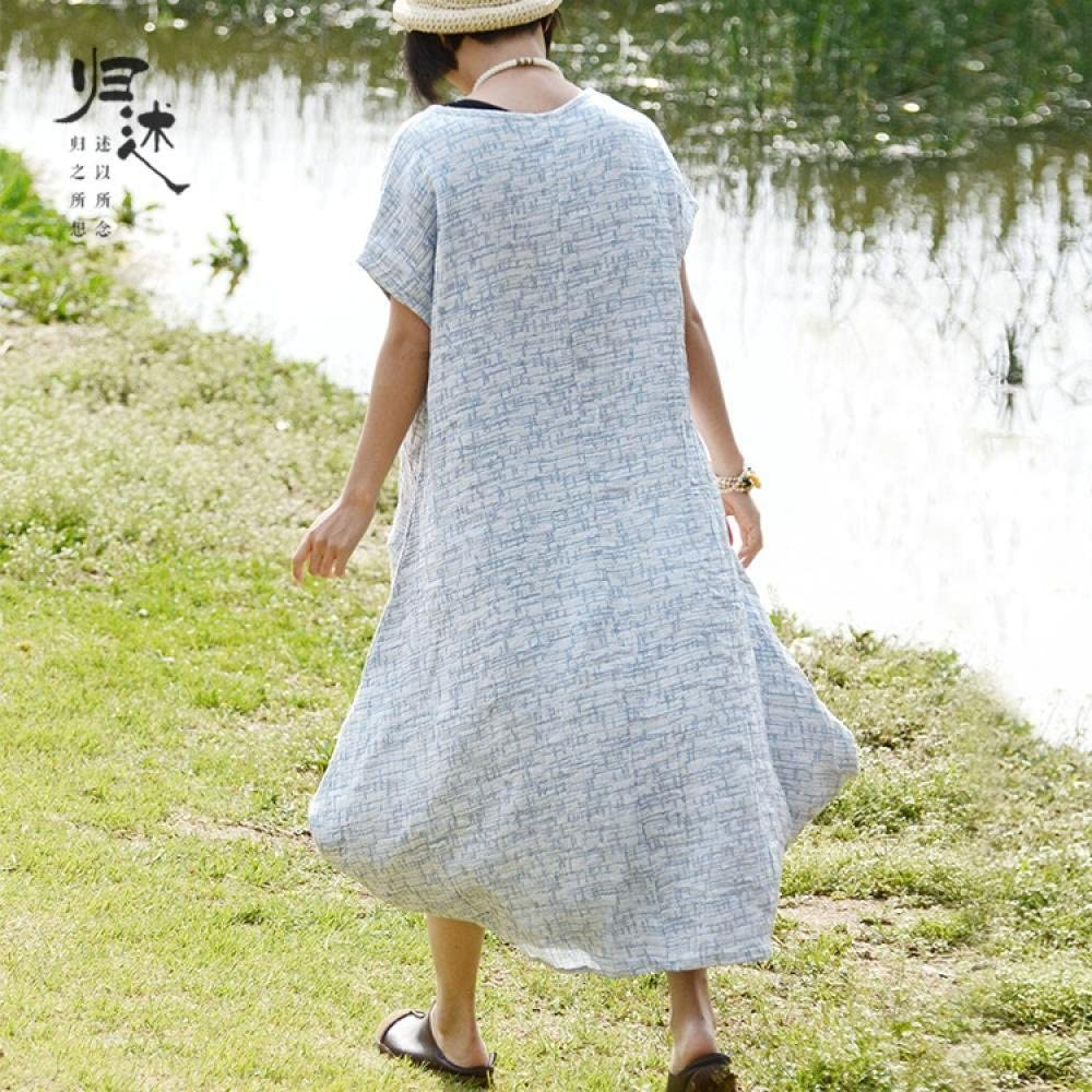 Lingswallow Womens Summer Loose Oversized Short Sleeve Long Linen Dress Blue