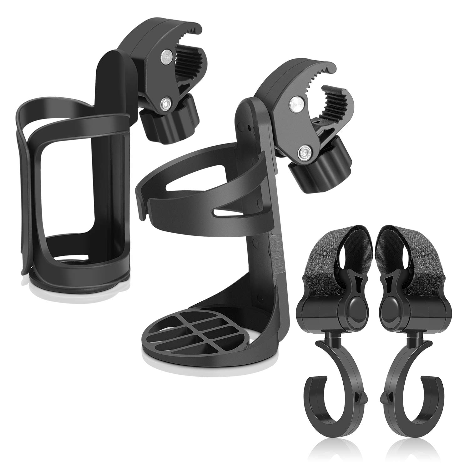 Bike Cup/Stroller Bottle Holders Universal 360 Degrees Rotation Drink Holder for Baby Stroller/Pushchair Bicycle Wheelchair and Motorcycle with 2 Baby Stroller (Black)