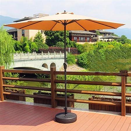 ZXL Patio de jardín Sombrilla Recta con Poste de Metal jardín al Aire Libre Playa Camping Piscina Lado de balcón portátil Sombrilla Patio Sombrilla UV (Color: Caqui): Amazon.es: Hogar