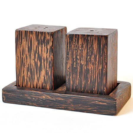Pimienta y salero Juego de coco madera rectangular Cocina Gastro ...