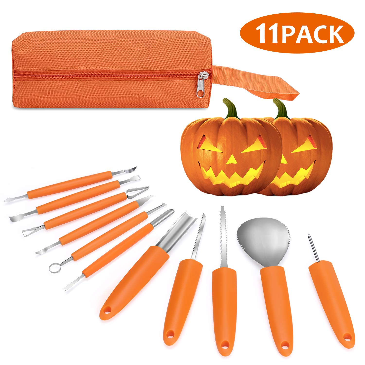 Veperain Halloween Pumpkin Carving Kit, 11 Pieces Professional Stainless Steel Pumpkin Carving Tools for Halloween,Carve Sculpt Jack-O-Lanterns Halloween Decorations DIY with a Storage Carrying Case by Veperain