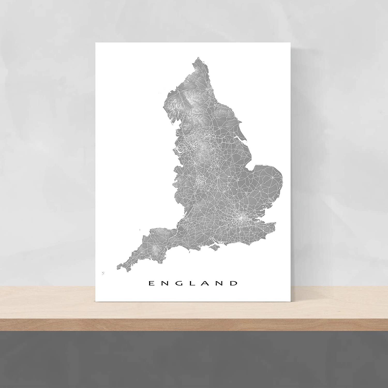 Country Map Of England.England Map Wall Print Country Landscape Art Poster Uk London