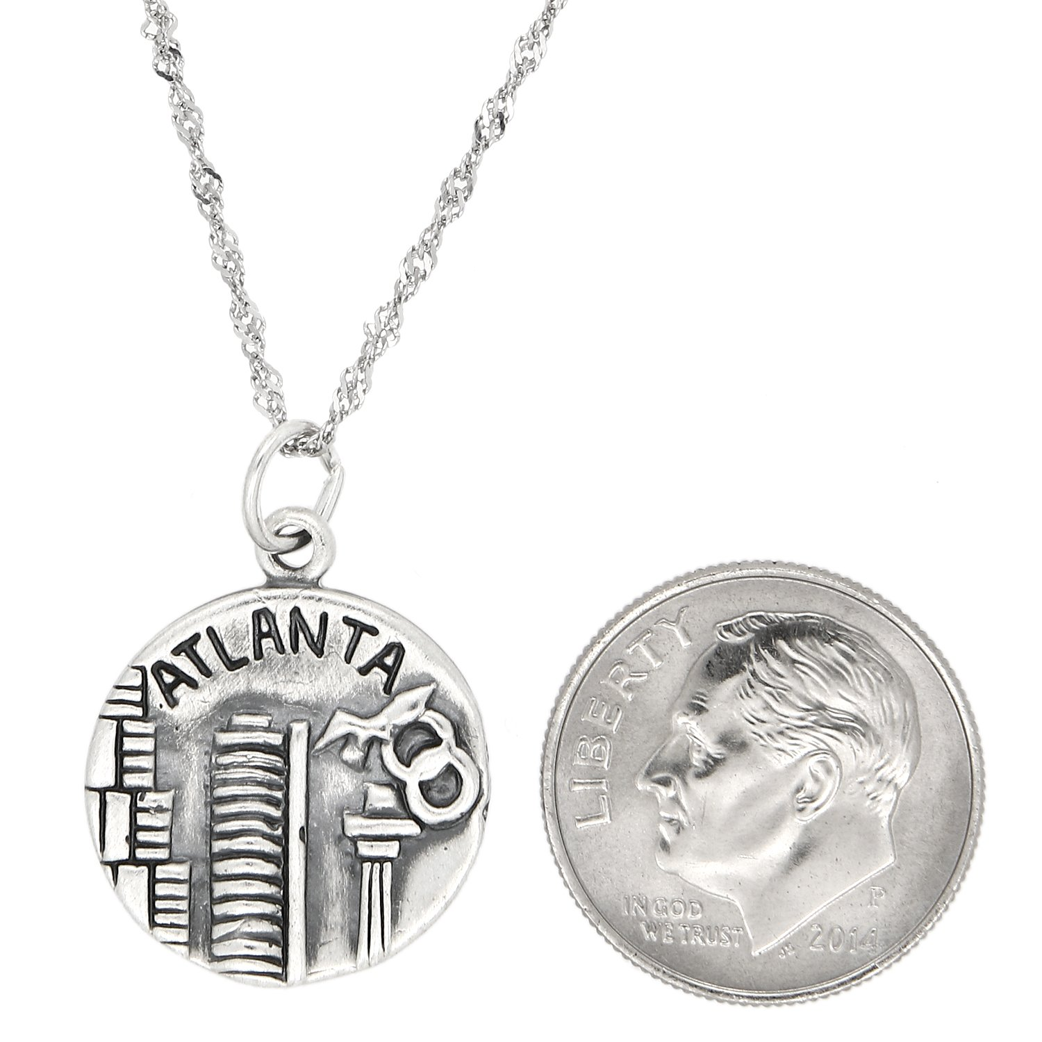 Lgu Sterling Silver Oxidized Atlanta The Big A Charm with Thin Singapore Chain Necklace