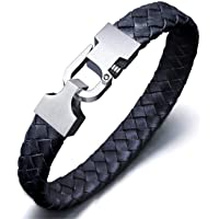 Amtier Men's Woven Braided Leather Cuff Wristband Bracelet Ajustable with Push-Lock Clasp