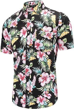 Dioufond - Camisa Casual - Button Down - Floral - con Botones - Manga Corta - para Hombre: Amazon.es: Ropa y accesorios