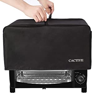 CACTIYE Toaster Oven Dust Cover with Accessory Pockets Compatible with Hamilton Beach 6 Slice of Toaster Oven (BLACK)