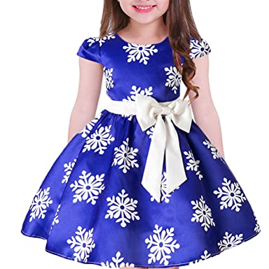 2d6bfff67 Tueenhuge Baby Girls Christmas Dress Toddler Snowflake Print Party Wedding  Formal Dresses (Blue, 2
