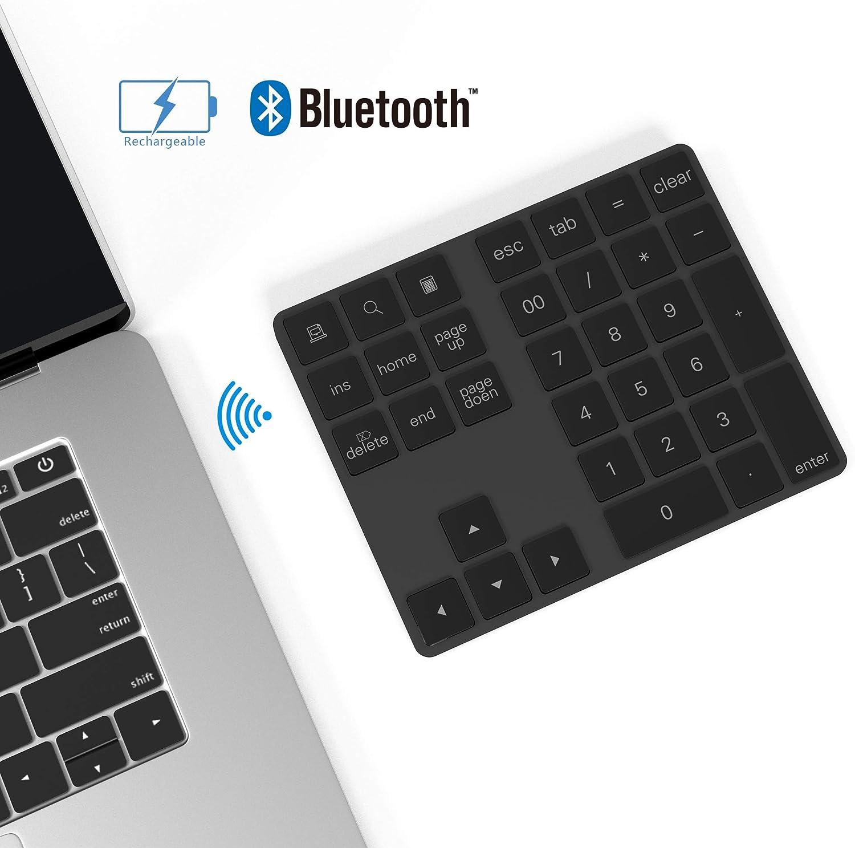 Rytaki Teclado numérico Bluetooth con múltiples accesos directos de 34 Teclas Teclado numérico Delgado inalámbrico portátil para iPad/Mac/Laptop/PC Compatible con el Sistema Windows