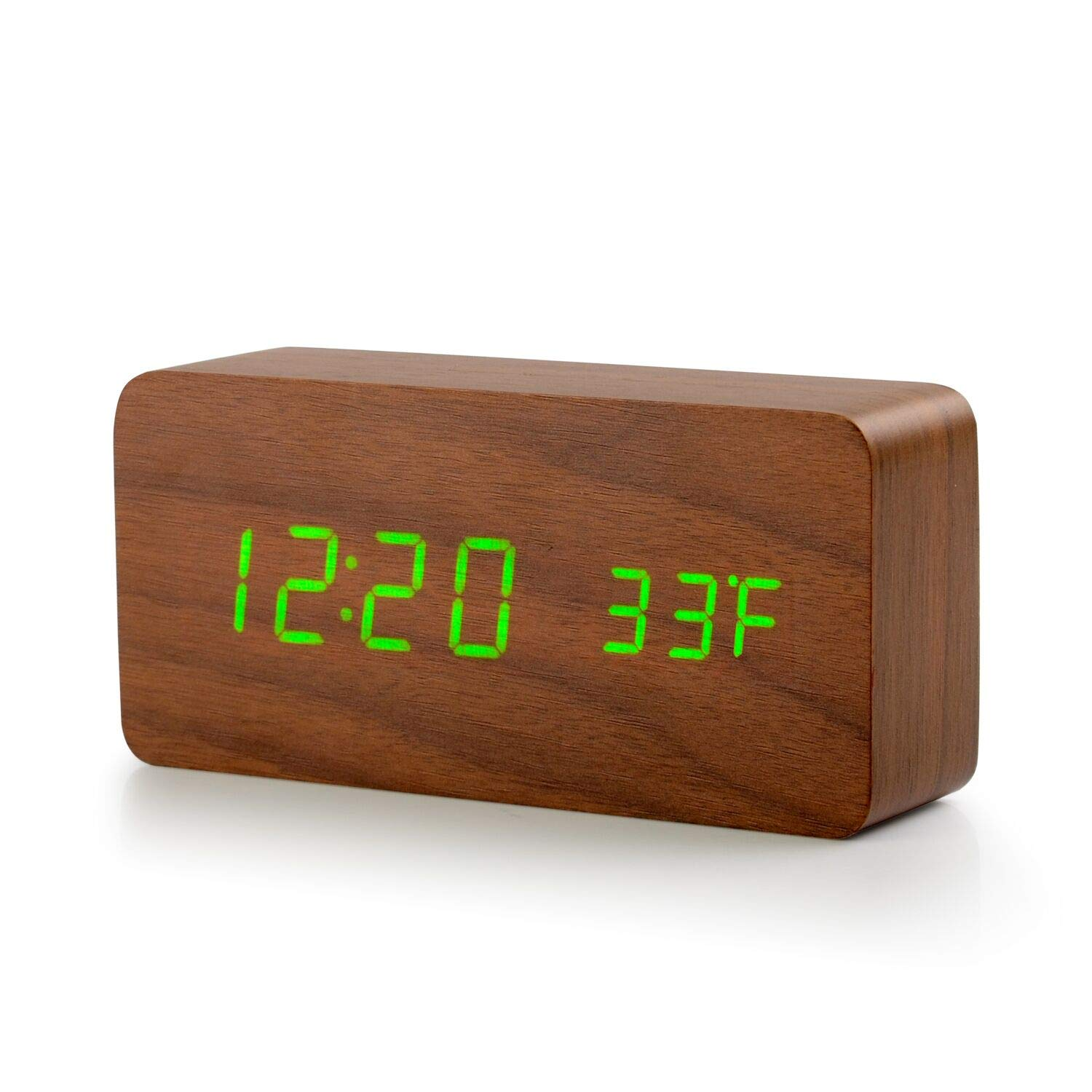 HUAYUN Desk Clock/Wood Alarm Clock,Battery Charging,Leaf Green Font,Bedroom Sleep Function,Stay Away from Radiation and Noise,℉ Display