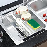 Anseahawk Stainless Steel Foldable Roll-up Over Sink Dish Drying Rack