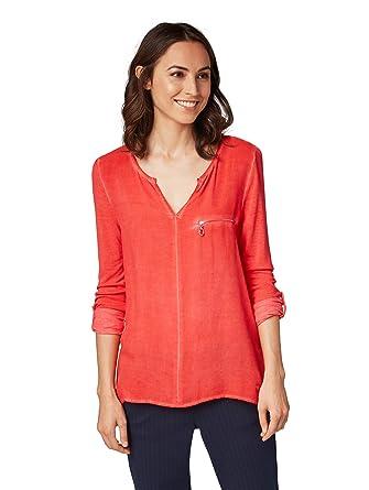 TOM TAILOR für Frauen T-Shirts Tops Shirt mit Brusttasche Brilliant red, M eaeb9c529f