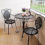 忆凡 户外庭院铁艺休闲桌椅洽谈桌椅子套件圆桌咖啡茶几组合桌子 (一桌两椅-黑色)
