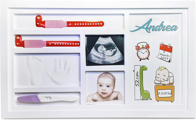 Baby shower | regalos útiles para bebés | huellas de bebé | marco de huellas de bebé | echar las manos | 48x29cm