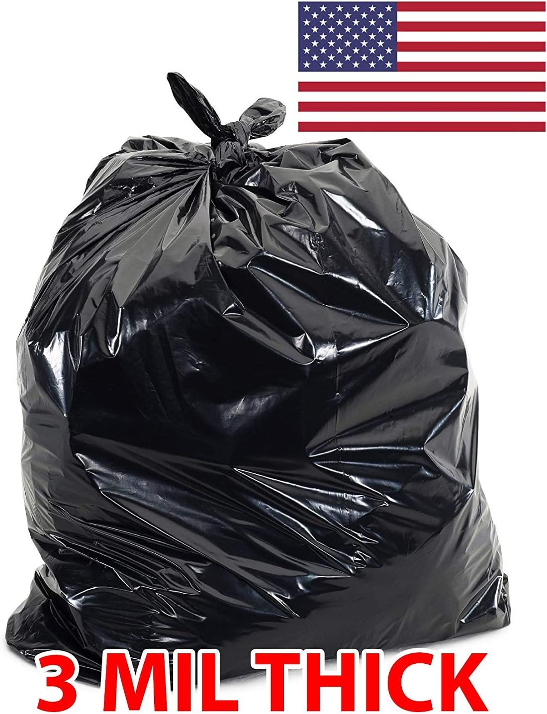 60 Gallon Extra Large Contractor Trash Bags 3 Mil, Durable Heavy Duty, Made in USA, Tough Garbage Bags for Cleanups Drum Liner 3mil (25)-41x55