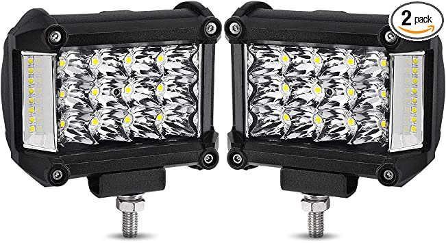 DJI 4X4 2Pcs 4 Inch 126W Square Off Road Driving Lights LED Fog Lights CREE Spot Flood Combo Beam LED Cubes Work Lamps for Trucks Jeep Heavy Duty ATV UTV SUV Boat LED Pods