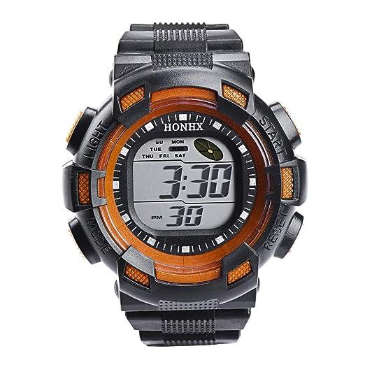 Cebbay Reloj Deportivo para Hombre LED Digital Resistente al Agua Correa de Goma Reloj Militar Casual de Negocios (Naranja): Amazon.es: Relojes