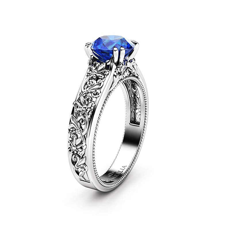 14K Vermeil Sterling Silver September Birthstone Engagement Ring 45th Wedding Anniversary Gift Nighty Sky Natural Sapphire Ring Vintage