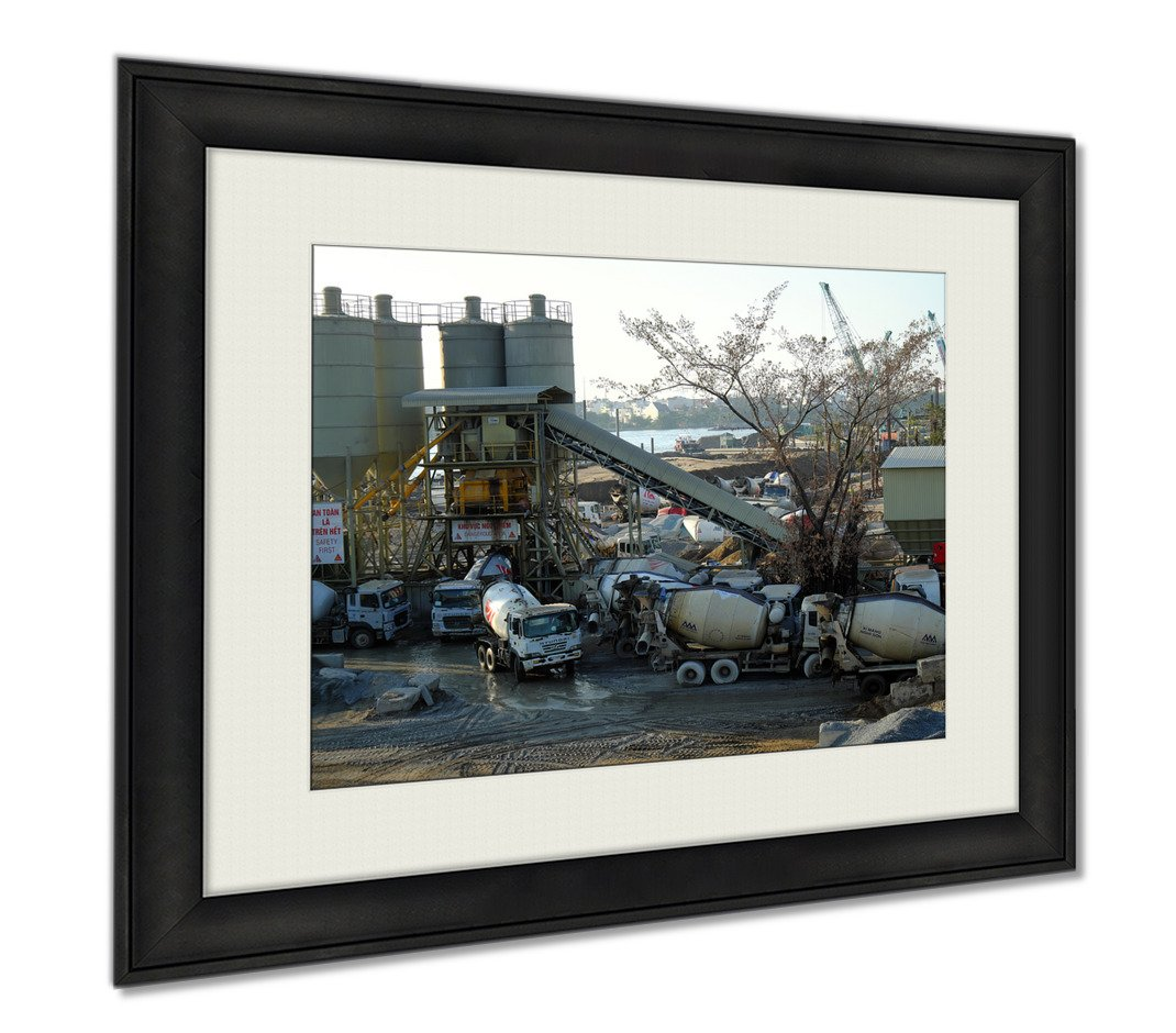 Ashley Framed Prints Mixer Concrete Station Truck Construct Industry, Wall Art Home Decoration, Color, 30x35 (frame size), AG5921596 by Ashley Framed Prints