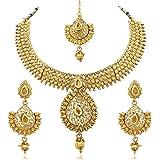 Reeva Gold Zinc Necklace With Earring & Mangtikka Set For Women