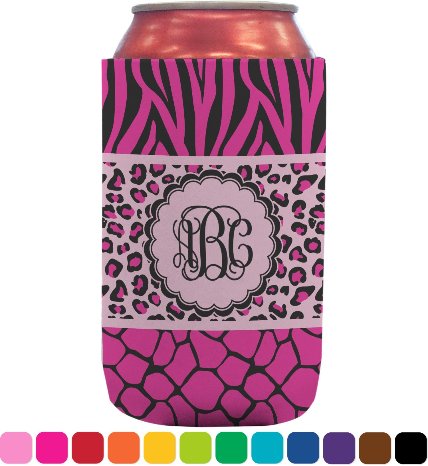 Triple Animal Print Can Sleeve (12 oz) (Personalized)
