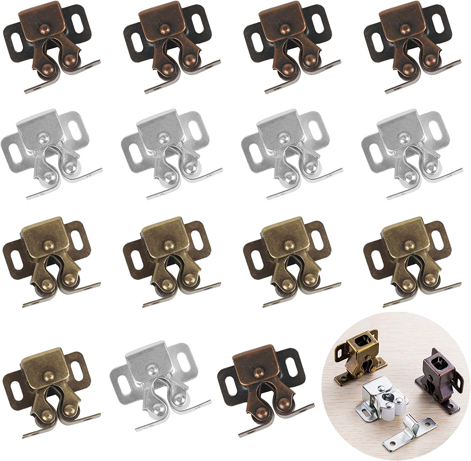 LAITER 15pcs Roller Catch Cupboard Door Catches Double Ball Cabinet Catch with Srews for Home Furniture Strong Hold Closet Wardrobe Doors Roller Locks
