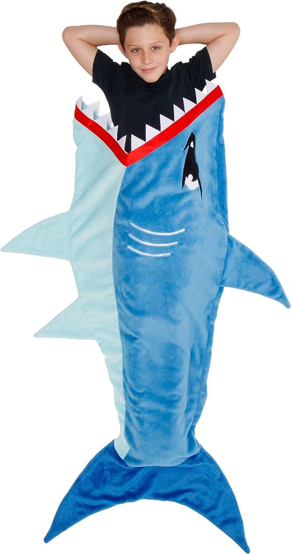 Silver Lilly Animal Tail Blanket - Plush Animal Sleeping Bag Blanket for Kids (Blue Shark)