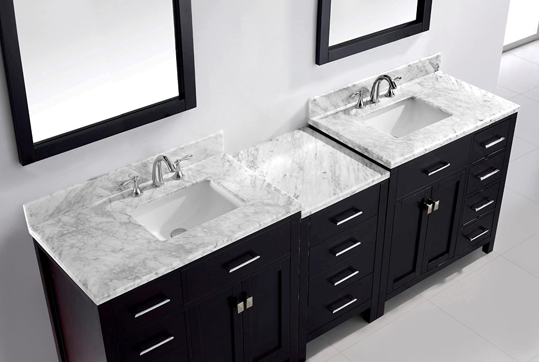 Virtu USA MD 2193 WMSQ ES 93 Inch Caroline Parkway Double Square Sink Bathroom  Vanity, Espresso     Amazon.com