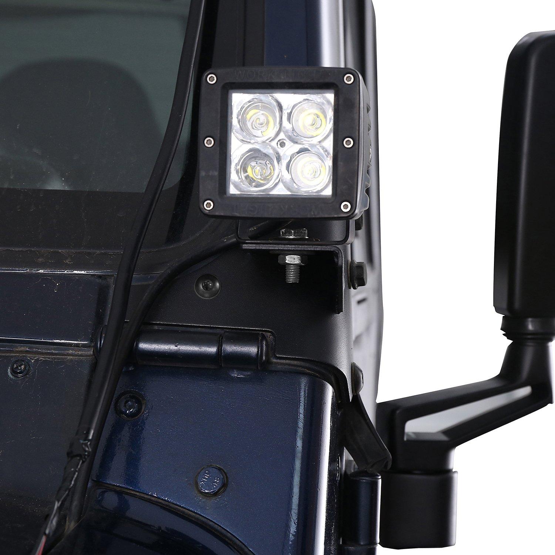 u-Box Jeep Wrangler TJ Windshield Light Mount Bracket for 1997-2006 Jeep Wrangler TJ//LJ Pair