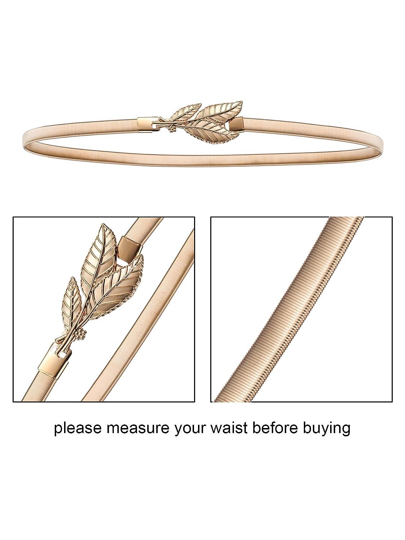 Bememo 4 Pezzi Cinture da Donna Elastico Cintura di Metallo Foglia e Rose Floreali Cintura per Vestito Oro Argento Cintura Chiusura ad Incastro 27.56 x 0.315 Pollici