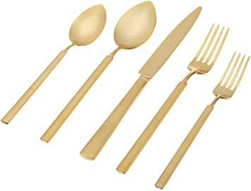 Herdmar Vintage Brushed Gold 18/10 Stainless Steel 5-Piece Place Setting by Herdmar: Amazon.es: Hogar