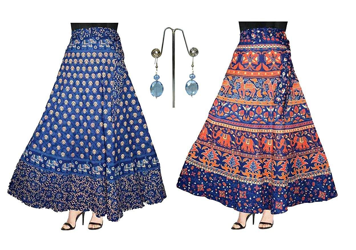 Eshopitude Women's Cotton Wrap Around Skirt with Earrings(ESH06, Blue, Free Size) - 3-piece Combo