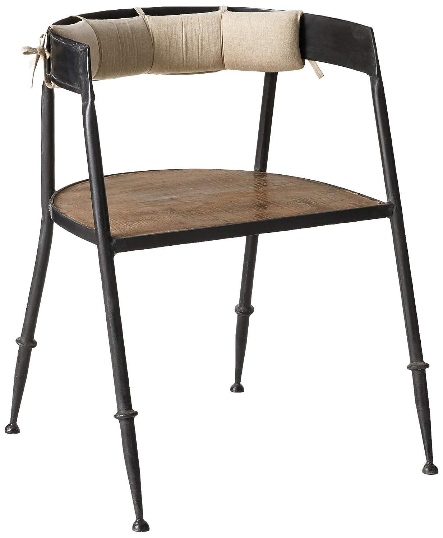 クリエイティブco-opメタルChair with木製シート&バッククッション01-furniture、シルバー   B07F3Q5C96