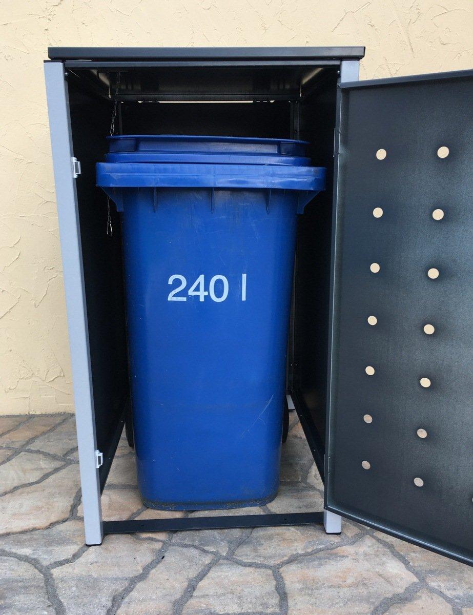 5 Tailor M/ülltonnenboxen Basic Duo f/ür 240 Liter Tonne//Stanzung 2 Farbe RAL 7016 Anthrazit//Rahmen RAL 9006 hell Grau//Versch/önern Sie Ihre unansehnliche M/ülltonnen in Ihrem Hof und Garten!
