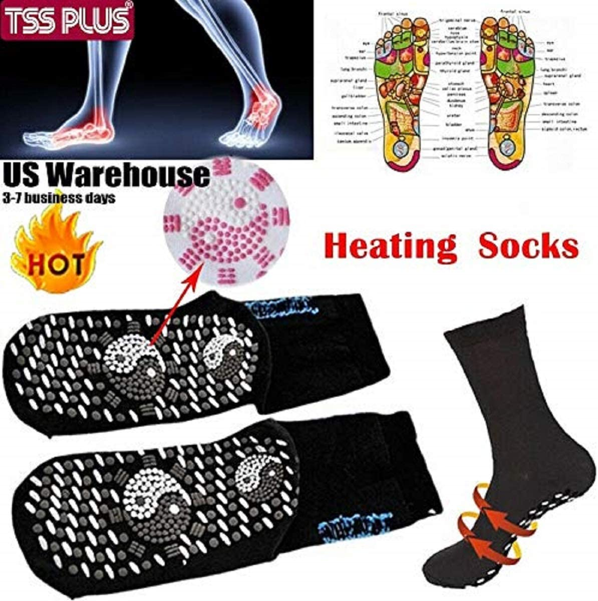 A361 Self-heating Far Infrared Cotton Socks Therapy Sock Foot Feet Massage