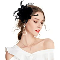 Z&X Women Feather Flower Fascinator Hat Hair Clip Brooch Cocktail Wedding
