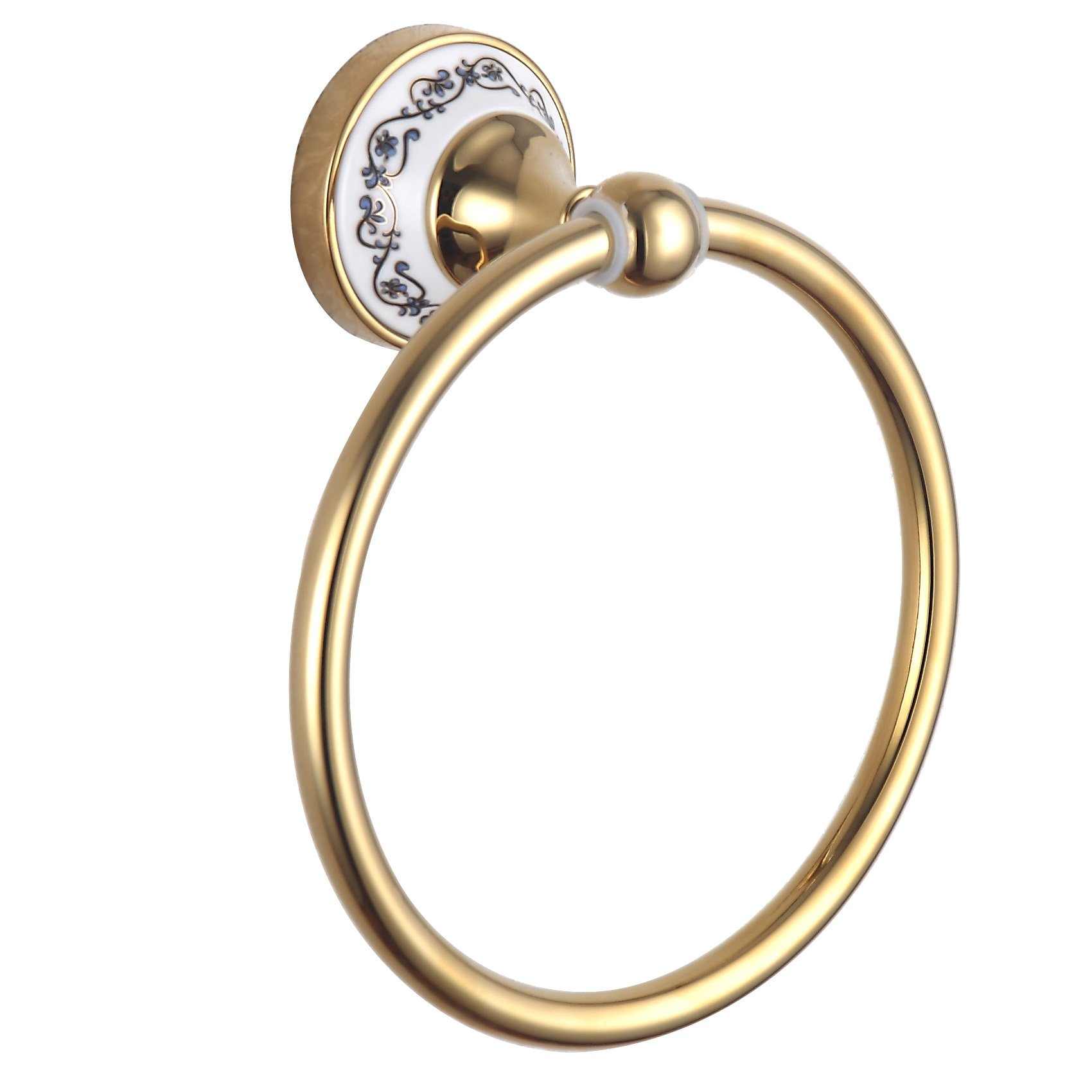 Cloud Power Wall-mounted Towel Rings Brass Towel Rings Holder With Towel Rings Porcelain Decorated For Bathroom Titanium
