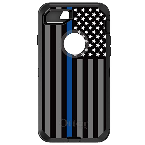 finest selection 066d2 1229a iPhone 7 iPhone 8 OtterBox Defender Black Custom Case by DistinctInk - Thin  Blue Line US Flag Law Enforcement