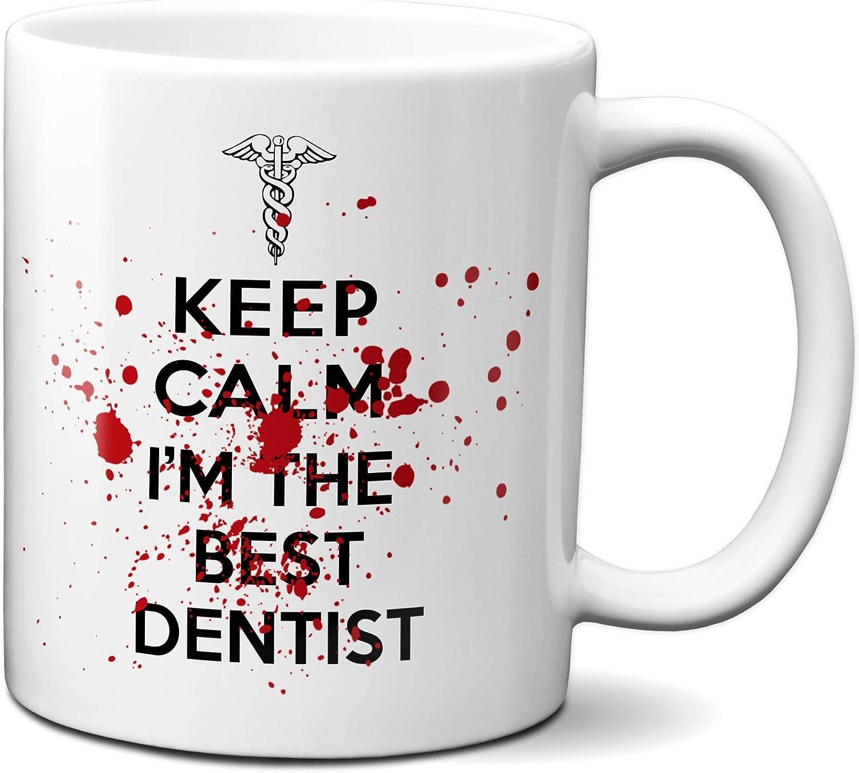 Planetacase Taza Keep Calm I'm The Best Dentist Regalo para Dentistas Ceramica 330 mL