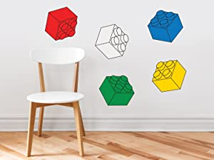 Three Dimensional Building Blocks Fabric Wall Decals - Set of 5 Blocks in 5 Colors - Removable, Reusable, Respositionable