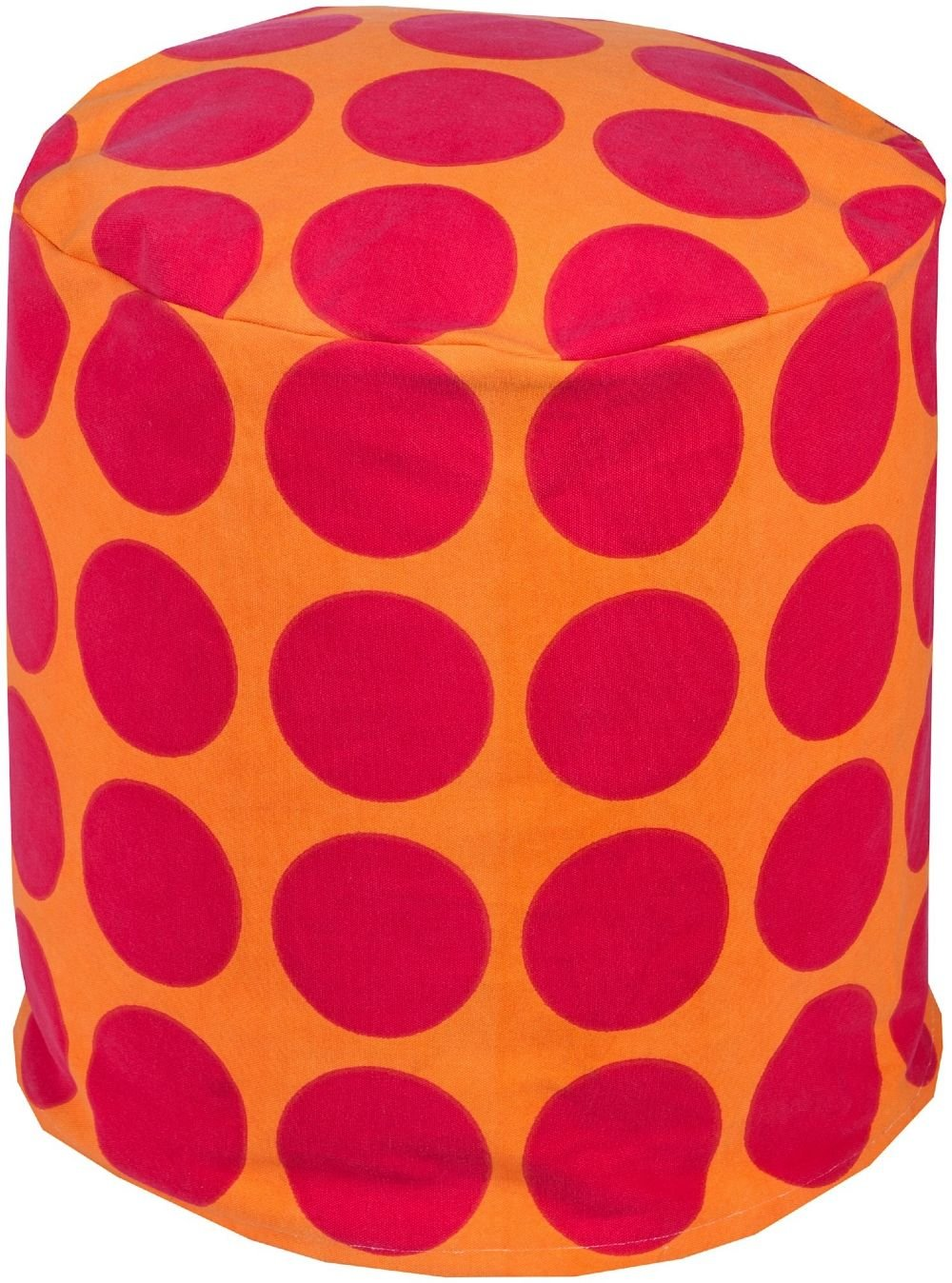 Surya Contemporary Round pouf/ottoman 18''x18''x18'' in Pink, Orange Color From Playhouse Collection