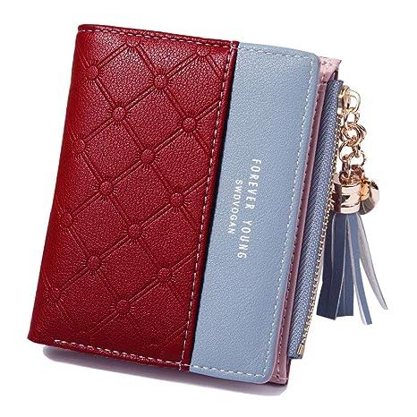 48100a2293 Portafoglio donna con cerniera portafoglio Mini Tasca in tessuto di PU  pelle per Carte di Credito