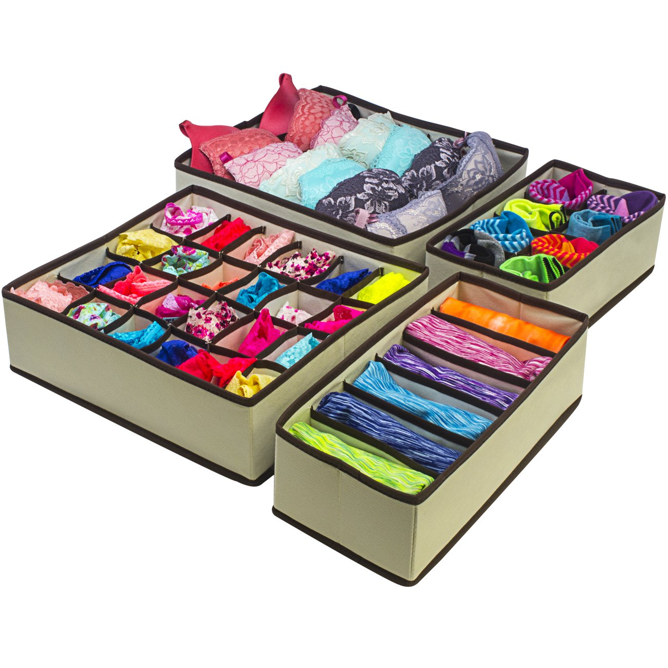 Sorbus Set of 4 Foldable Drawer Dividers, Storage Boxes, Closet Organizers, Under Bed Organizer, for Clothing, Shoes, Underwear, Bra, ...
