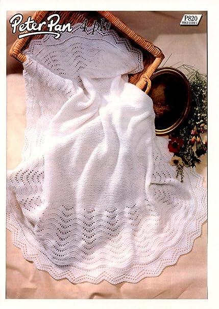 c8ec8631370b Peter Pan 4Ply Baby s Shawl Knitting Pattern P820  Amazon.co.uk ...