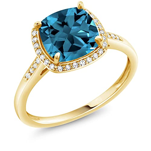 Gem Stone King 10k Yellow Gold London Blue Topaz and Diamond Women s Ring 2.74 cttw Cushion Cut Available in size 5, 6, 7, 8, 9